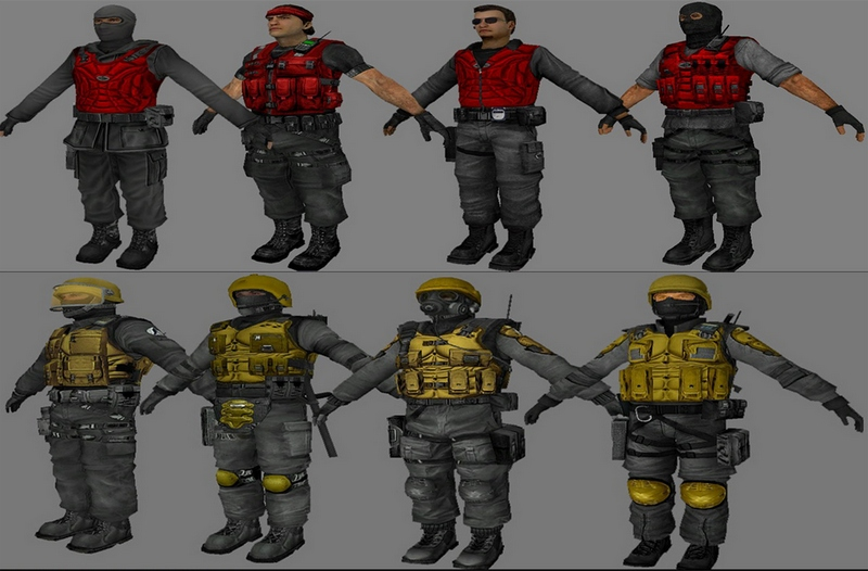 """Red (T)"" and ""yellow (CT)"" pack skins"